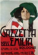 Vintage Gazzetta Dell'Emilia Advertising Poster.